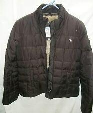 Juniors ABERCROMBIE FITCH Brown Puffer Faux Fur Winter Jacket Coat Size  Medium