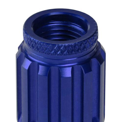 J2 M12X1.25 7075-T6 ALUMINUM 20MM OD//80MM 16PC SPIKY CAP LUG NUT+4PCS LOCK BLUE