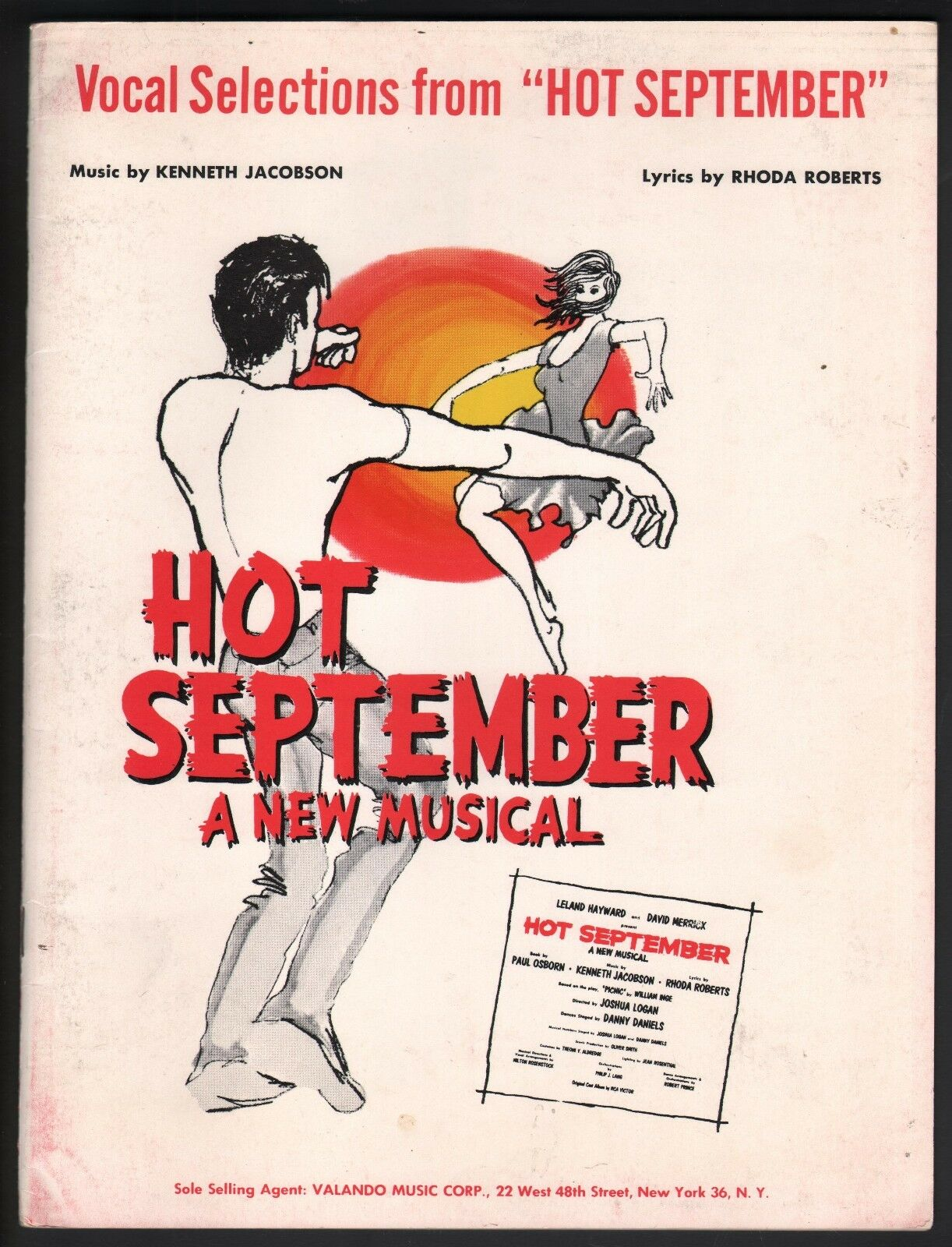 Hot September Vocal Selections 1965 Musical Version of Picnic Sheet Music