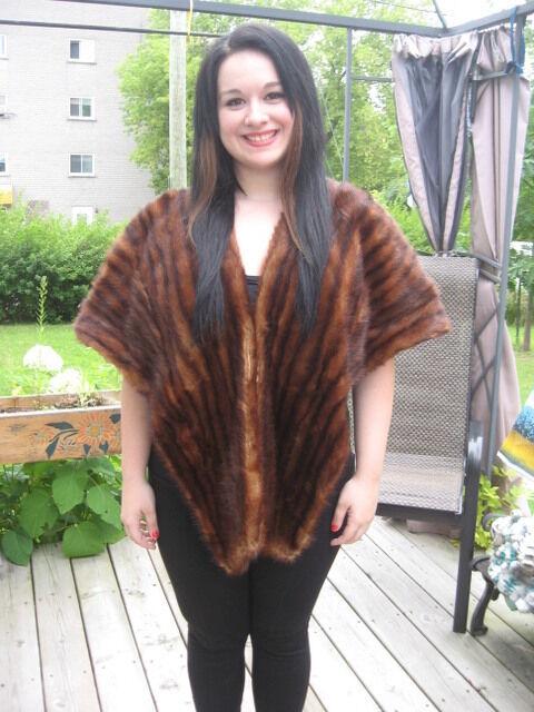 #A29 vintage muskrat fur stole wrap dark brown made around 1900