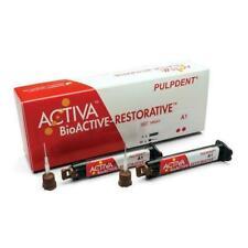 Pulpdent Activa Bioactive Restorative 2 X8gm Refill Syringe 40 Tips All Shades