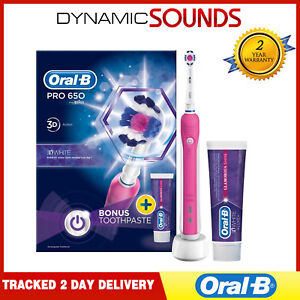 Braun Oral-B Professionali 650 Rosa Spazzolino Elettrico 3d Azione Bianco+