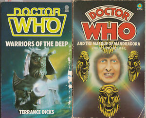 2-Doctor-Who-Target-Books-3-95-Masque-of-Mandragora-Warriors-of-the-Deep
