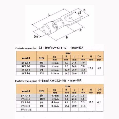 Sélectionnez La Taille 14-10 AWG Wire Spade Fork Isolé Connecteur Terminal Car Audio