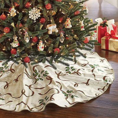 Elegant Christmas Tree Skirts.Lenox Holiday Nouveau Tree Skirt Christmas Holly Plaid Ribbon 60 Round New 47596226889 Ebay