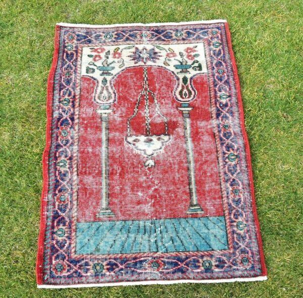 0.8x1.1m Vintage Handmade Tapete Turco Oración Tradicional Rojo Color Alfombra