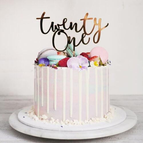 Happy Birthday Acrylic Cake Topper Number 21  For 21st Birthday Party De FgSJUS