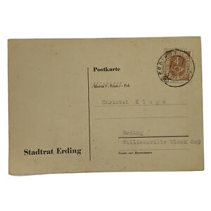 1952 ERDING BAVARIA GERMANY POSTCARD FROM CITY COUNCIL POSTHORN STAMP #671