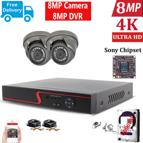 8MP CCTV 4K ULTRA HD DVR 4CH SYSTEM OUTDOOR INDOOR HD CAMERA SECURITY KIT UK