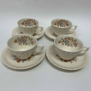 Vintage-Clifton-by-Royal-Cups-and-Saucers-Ivory-Floral-Swirl-Rim-Lot-of-8