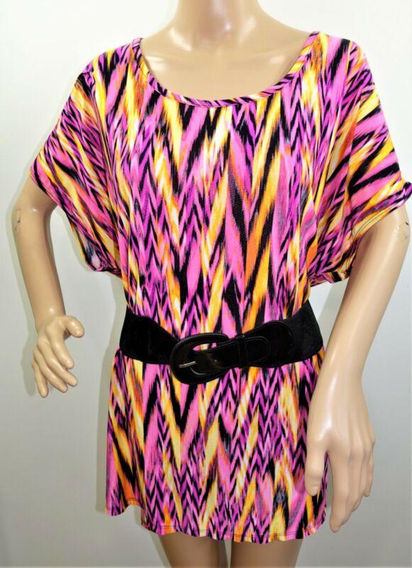Lexington Avenue Damen Übergröße 1x 2x 3x Pink Chevron Tunika Top Bluse