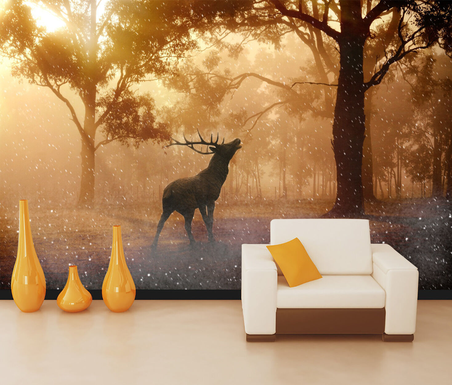3D Wild Deer Forest 6756 Wall Paper Wall Print Decal Wall Deco Indoor Wall