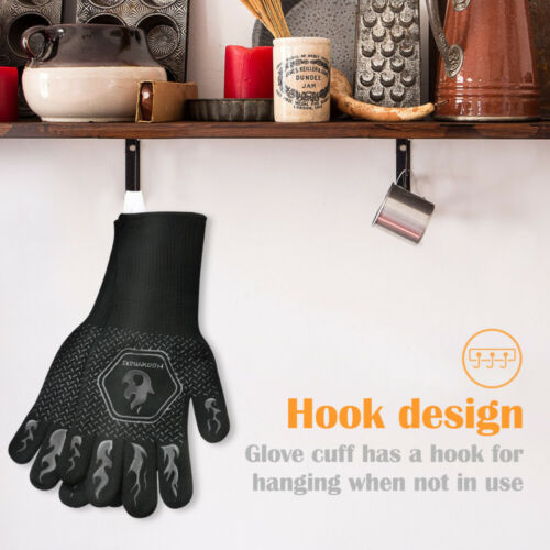 ≤800℃//1472℉ Heat Resistant Oven Mitts BBQ Gloves Pair Of Pot Holder Work Silicon
