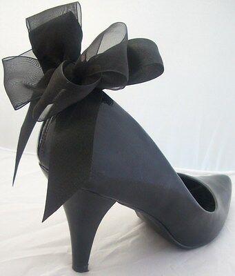 4 Clips De Zapato Negro Zapatos Satin Bows Vintage Pinup Burlesque formal Reino Unido Hecho a Mano