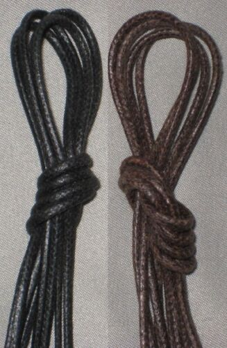 Cordo-Hyde Wax Shoe Laces Thin Round Waxed Shoestrings Strings ALL SIZES