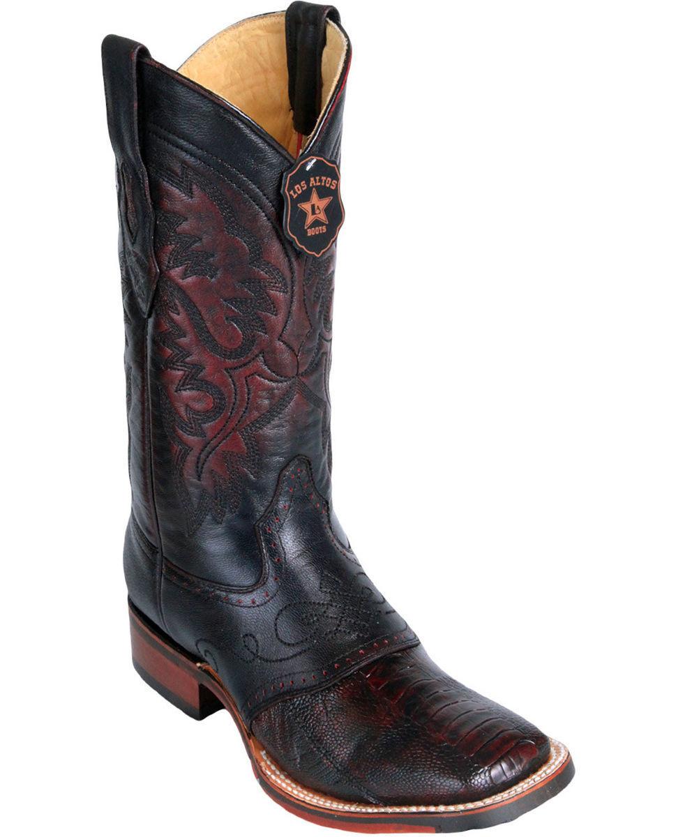 Los Altos CHERRY Ostrich LEG Square Toe TPU Rubber Sole Western Cowboy Boot EE+