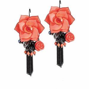 BRACCIALINI-Orecchini-pendenti-da-donna-JBR1000-05-nero-pendente-fiore-rosa-chic