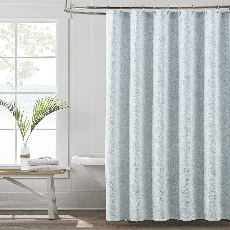 LaMont Home Sanibel Isle Matelasse Shower Curtain Nautical Blau Sand Dollar D4e1b1
