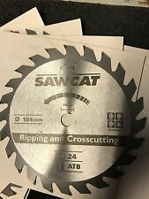 "184mm (7 1/4"") TCT Circular Sawblade SawCat 24 Teeth. Pack Of 10 !! Brand New"