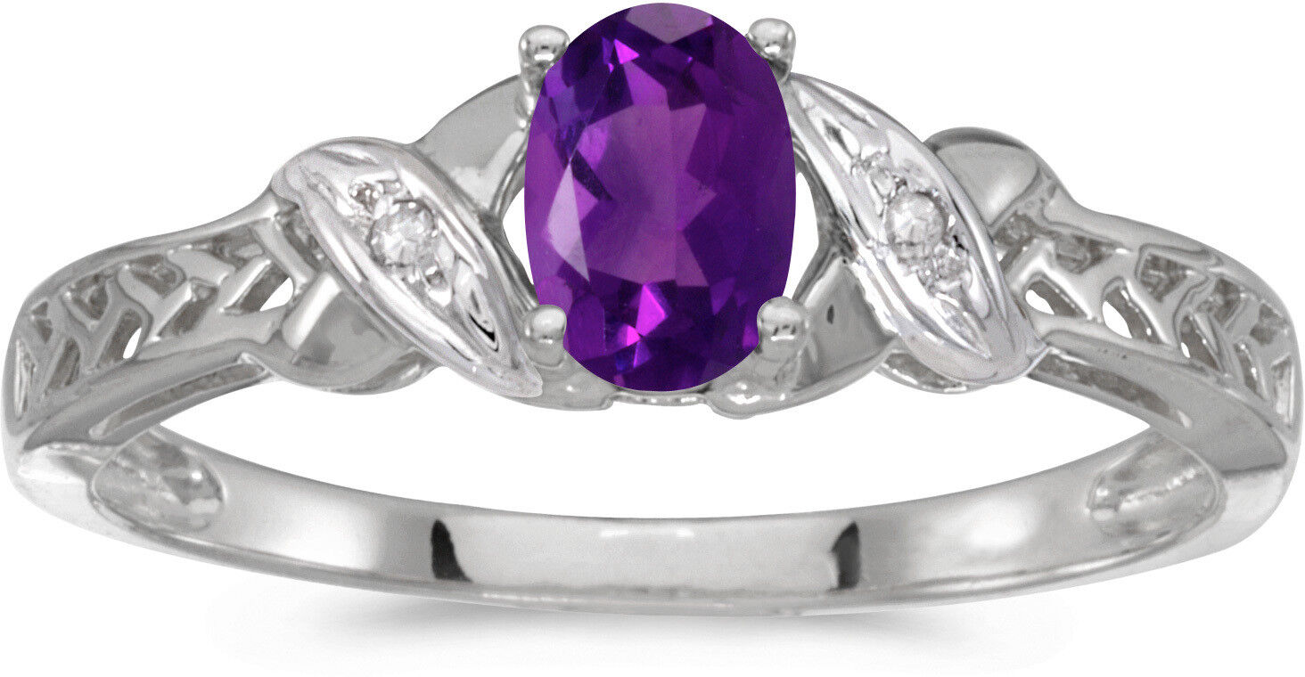 10k White gold Oval Amethyst And Diamond Ring (CM-RM2584W-02)