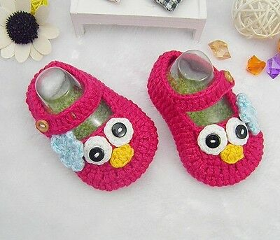 Crochet Baby Booties Baby Shoes - Birdie - Size M (3-6 months) - Pink