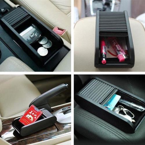 Auto Coche Vehículo bolsillo Telescópica Dash Moneda Estuche Organizador Almacenamiento Caja Negra LH