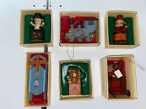 Lot-Of-6-Country-Antique-Ornaments-By-Russ-Co-Vintage-Christmas-Ornaments