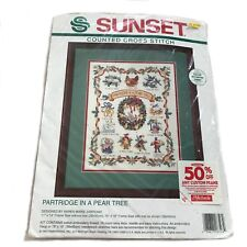 Sunset Longstitch Needlepoint Christmas Partridge In A Pear Tree Kit #6048