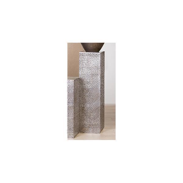 Pilar decorativo, suelo pilar Purley H. 100cm 27x27cm Antik plata metal Casablancoa