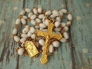 Vintage-Catholic-Rosary-White-Glass-Beads-Gold-finish-ornate-Crucifix-medal
