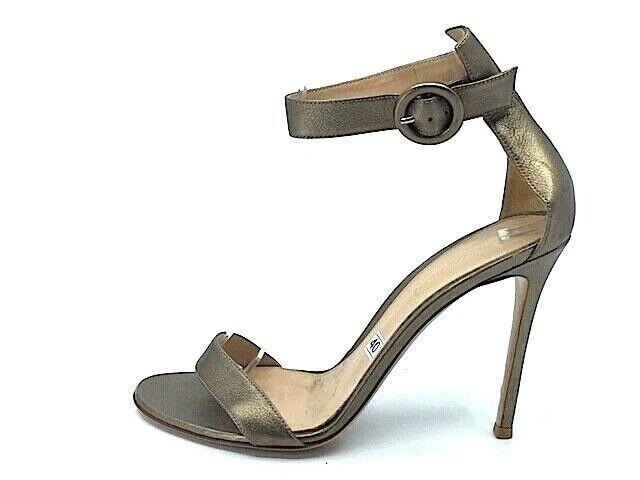 Gianvito  Rossi Bronze Leather Portofino ha allacciato sandali alla caviglia Sz 40  marchio famoso
