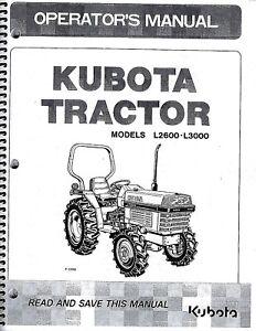 s l300 kubota l2600 l3000 tractor operator manual tc020 19713 ebay