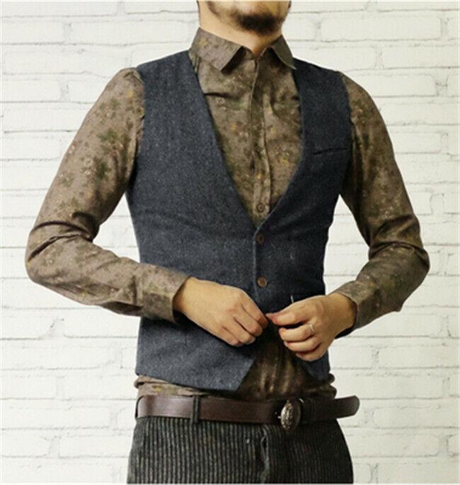 Mens Vest V-Neck Vintage Tweed Waistcoat Casual Herringbone Wool Slim Fit S-3XL