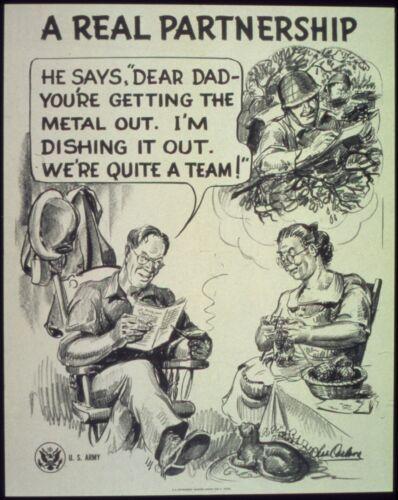 """A Real Partnership NARA Scrap Metal USA  World War 2  Poster 10x8/"""" Reprint"""