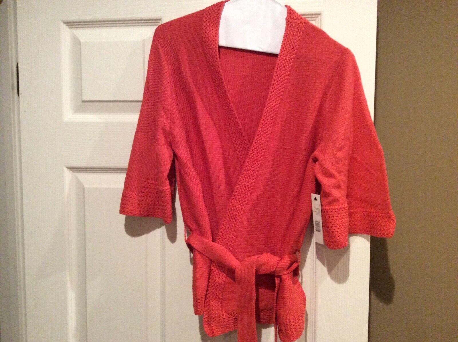 Tahari orange short sleeve sweater, nwt, small, crochet, knit, belt
