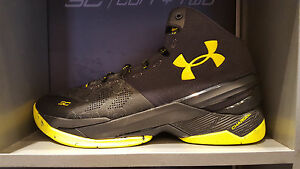 Under-Armour-UA-Curry-2-Black-Knight-Black-Gold-Yellow-MVP-GS-Men-Size-4Y-13