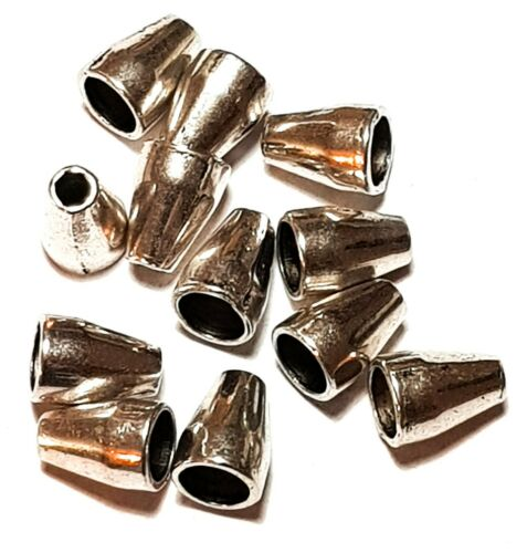 12 x Smooth Silver Tone Bead Cone Caps Jewellery Making Findings
