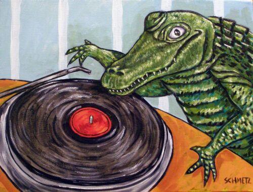 ALLIGATOR DJ picture 11 oz repceramic TILE abstract folk pop art JSCHMETZ coffe