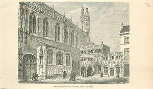 Basilique-du-Saint-Sang-Bruges-Heilig-Bloedbasiliek-Brugge-GRAVURE-PRINT-1880