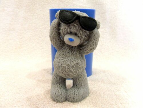 "/""Teddy Bear with sunglasses/"" silicone mold for soap candles making"