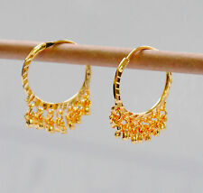 """Stunning 22k Yellow & white """"Gold Plated Small Hoop Earrings.25mm Indian Style"""