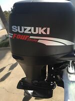 Suzuki 115 Hp Fourstroke Outboard Engine Decal Kit Silver & Red Marine Vinyl