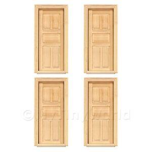 4x-Miniatura-Para-Casa-De-Munecas-Interno-5-Panel-Madera-Puertas