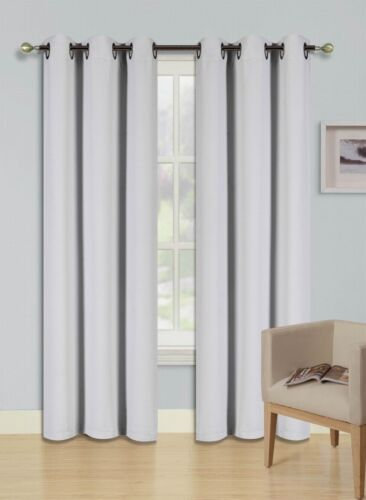 1 Set Grommet Heavy Thick Unlined Thermal Blackout Window Curtain K68