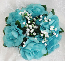 Candle Rings AQUA TURQUOISE ~ Silk Wedding Flowers Party Centerpieces Decoration