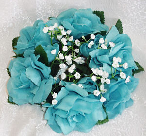Image Is Loading Candle Rings Teal Aqua Turquoise Silk Wedding Flowers