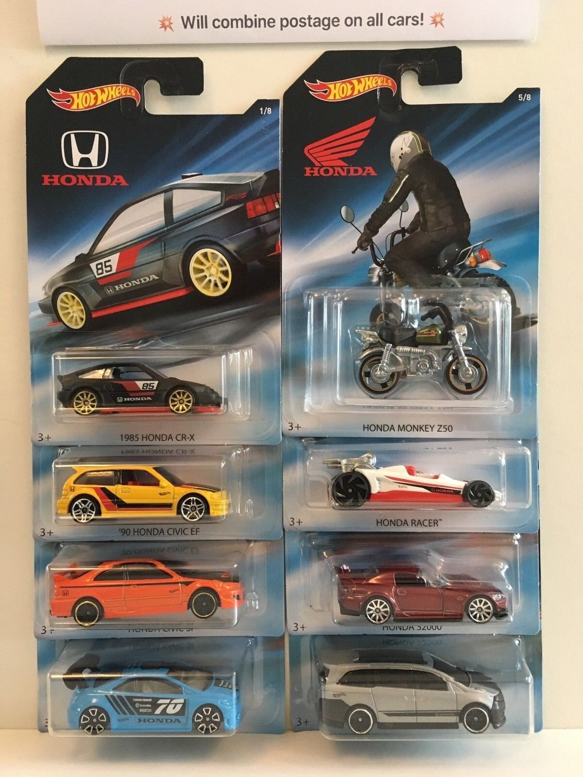 Hot Wheels Honda Set of 8 cars. Civic, CRX, S2000 etc.