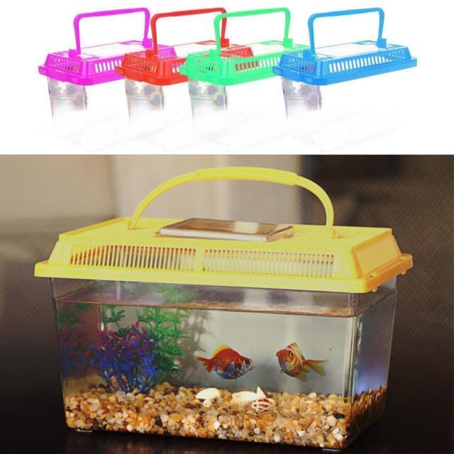 Plastic Starter Aquarium Fish Tank Reptile Insect Goldfish Cage Carry Handle UK
