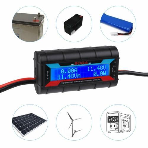 200A DC LCD Digital Monitor Amp Watt Meter RC Battery Solar Power Analyser Tool