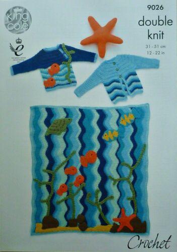 Patrón de ganchillo bebé manta de bebé Saltador Niño Chaqueta Y Estrella De Mar Juguete DK Kc 9026